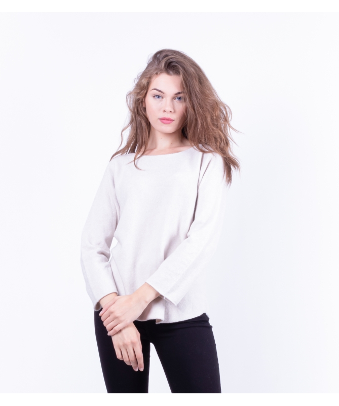 Pull Col Rond beige