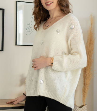 Pull Grosse Maille Empiècement sequins Blanc